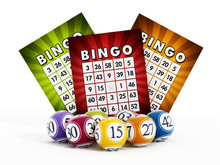 Bingo Card And Balls With Numb...