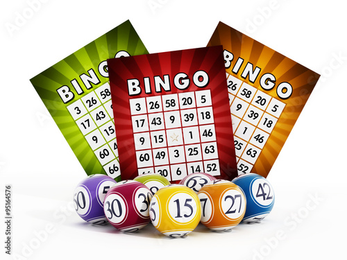 Bingo card and balls with numbers Wallpaper Mural