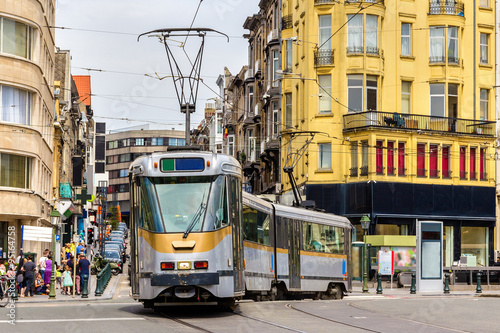 Old tram on a street of Brussels - Belgium