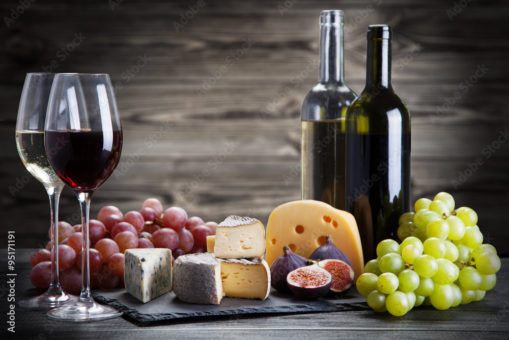 Fotografie, Obraz Wine and cheese