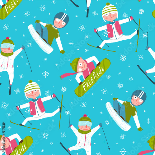 Cotton fabric Funky Skier Snowboarder Winter Sport Cartoon Seamless Pattern Background