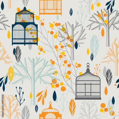 Foto op Aluminium Vogels in kooien Autumn pattern with vintage birdcages in retro style.