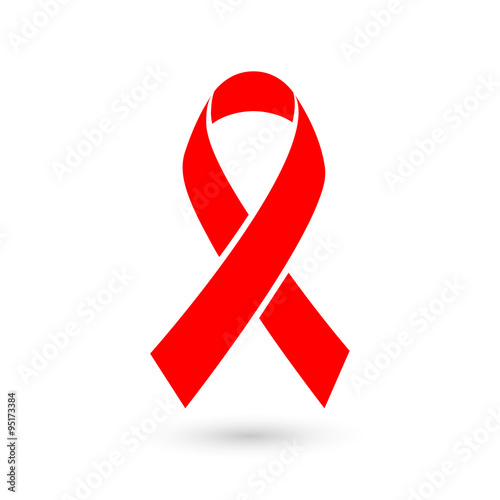 Stop AIDS - 1st December AIDS day template red ribbon on isolated background with shadow Wallpaper Mural