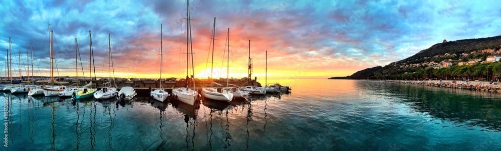 Fototapety, obrazy: Magic Sunset at the Harbor