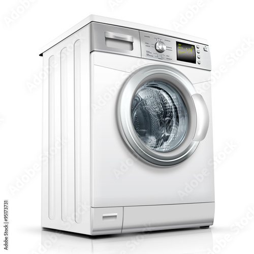 Fotografie, Obraz  Waschmaschine, Waschvollautomat weiss, silber, freigestellt