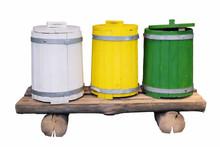 Three Colored Wooden Barrels