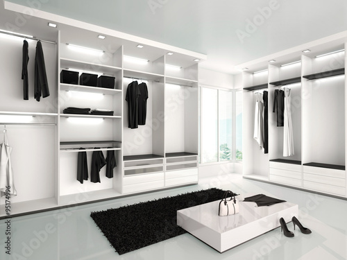 Valokuva 3d illustration of Luxurious white wardrobe in a modern style