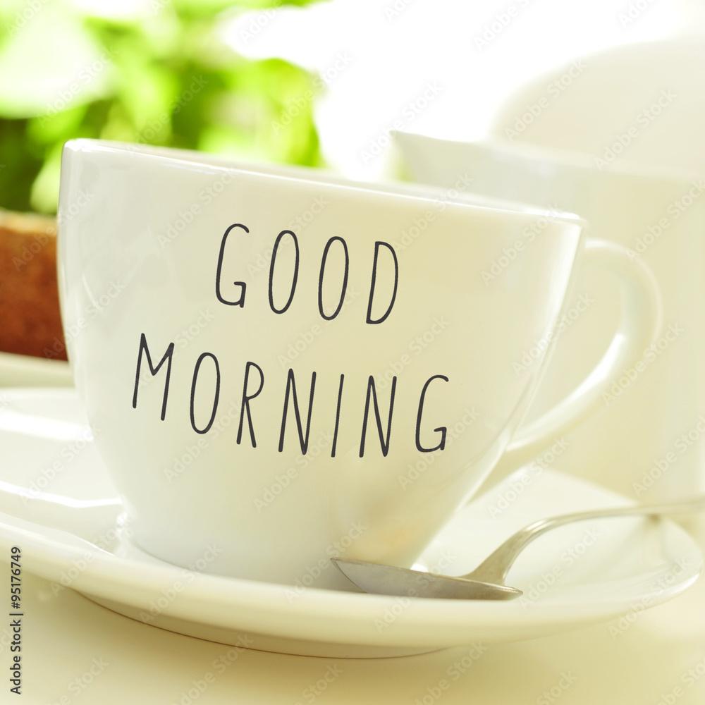 Text Guten Morgen Auf Einer Tasse Kaffee Oder Tee Foto