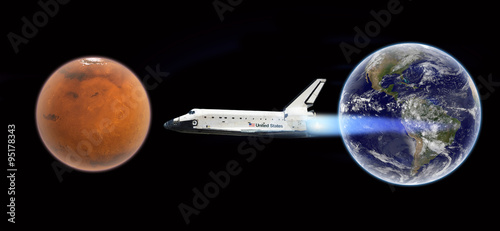 Deurstickers Nasa Flight to Mars - Elements of this image furnished by NASA
