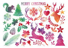 Watercolor Christmas, Vector Set