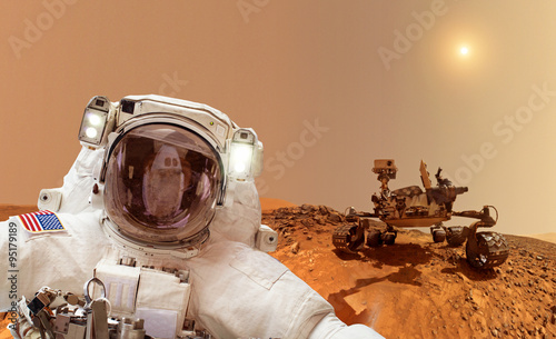 Deurstickers Nasa Astronaut with rover in background - Elements of this image furnished by NASA