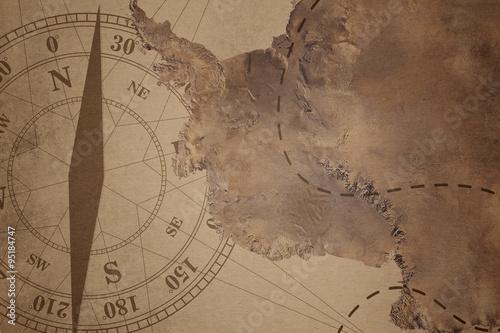 Papiers peints Retro Vintage Travel Manuscript With Map and Compass Adventure Backgro