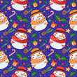 Christmas seamless vector pattern with snowmen (on dark blue background)