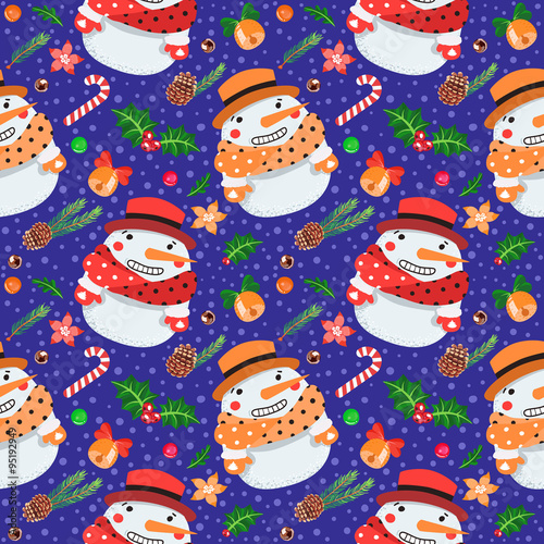 Cotton fabric Christmas seamless vector pattern with snowmen (on dark blue background)