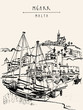 Yachts and church in port of Mgarr, Gozo island, Malta, Europe. Hand drawn vintage postcard