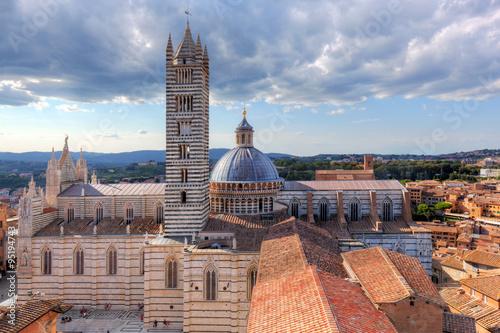 Fotografía Siena, Italy panorama rooftop city view