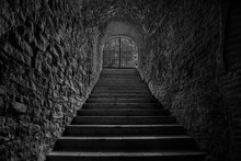 Old Wine Cellar Tunnel Entrance. Stairway Leading To Underground