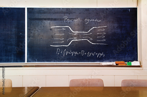 Schematic and Bernoulli equation written on very old scratched school board Canvas Print