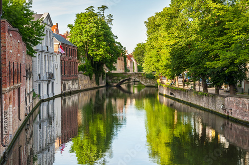 Wall Murals Bridges Bridge over canal with traditional europe architecture Bruges Be