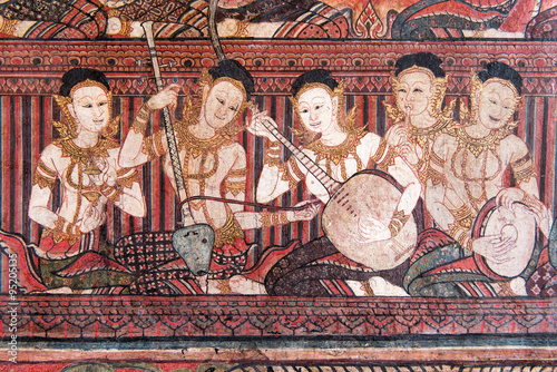 Poster Tunesië The Mural Painting of Angels Playing Music Instruments in National Museum of Thailand