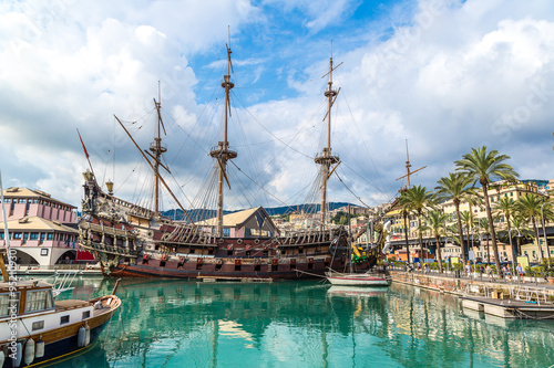 Foto op Canvas Schip Old wooden ship in Genoa, Italy