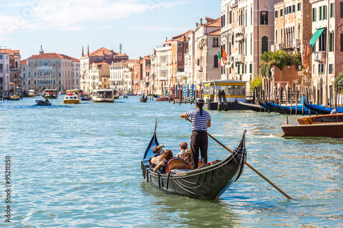 Spoed Foto op Canvas Venetie Gondola on Canal Grande in Venice