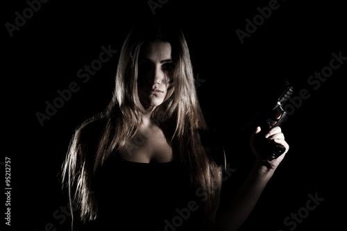 Photo  Military woman with a gun