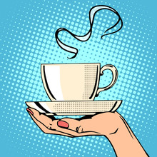 Hot Coffee Cup Woman Hand