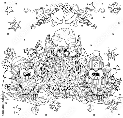 Poster de jardin Oiseaux en cage Christmas Owl on tree branch with small owls - hand drawn doodle vector on white background.Isolated layered illustration zentangle ready for coloring book.