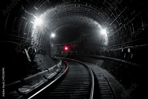 Kiev subway tunnel Canvas Print