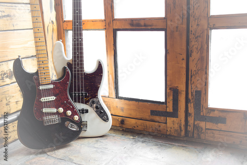Photo  Vintage Electric guitar and bass