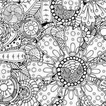 Seamless Contour Floral Pattern
