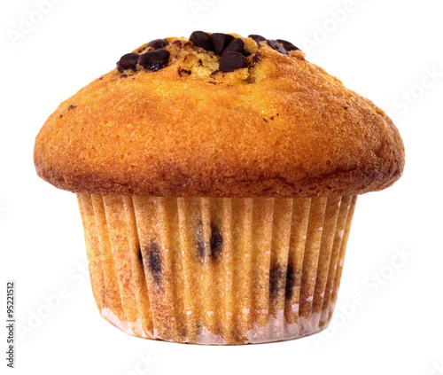 Chocolate chip muffin cake isolated on white background. Canvas-taulu