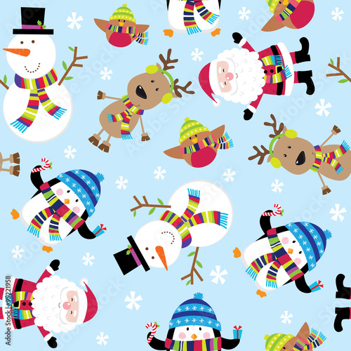 Cotton fabric Seamless Cute Santa and Friends Illustration. EPS 10 & HI-RES JPG Included