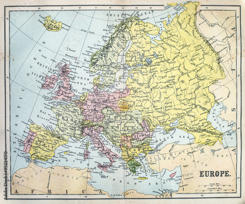 Photo  Map of 19th Century Europe