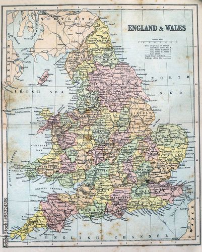 Map Of Victorian England.Map Of Victorian Era England And Wales Buy This Stock Photo And