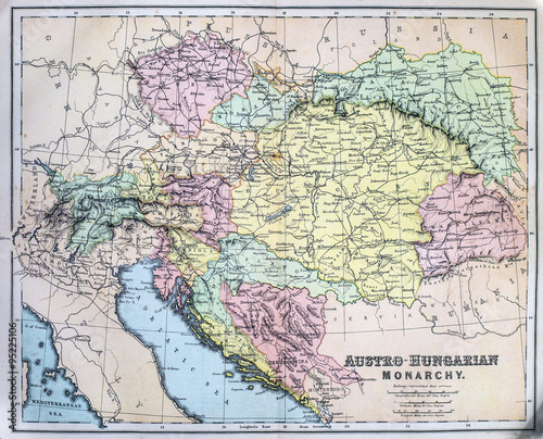 Fotografie, Obraz Map of Austro-Hungarian Empire