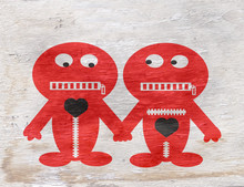 Funny Characters Holding Hands With Wood Grain Texture