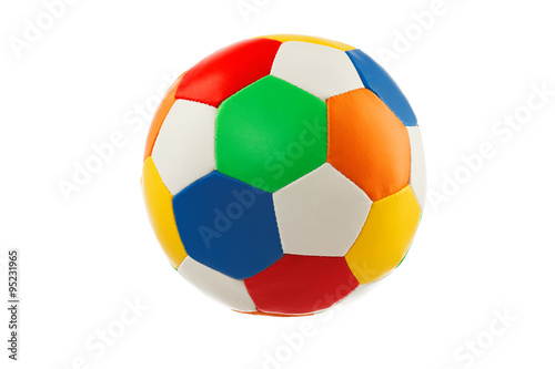 Spoed Foto op Canvas Bol Colorful ball toy isolated on white background