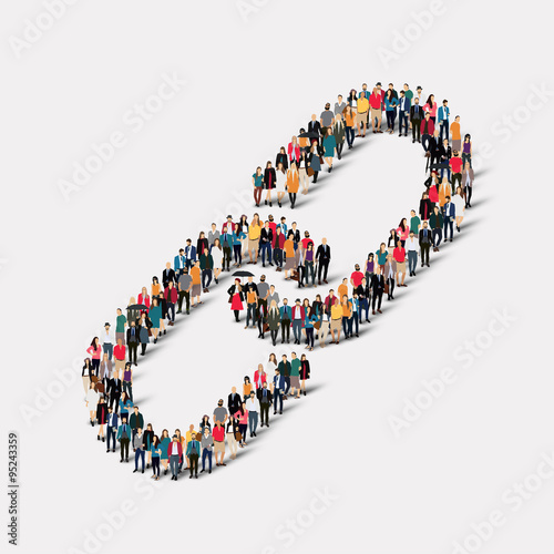 Fotografia  group  people  form  chain link