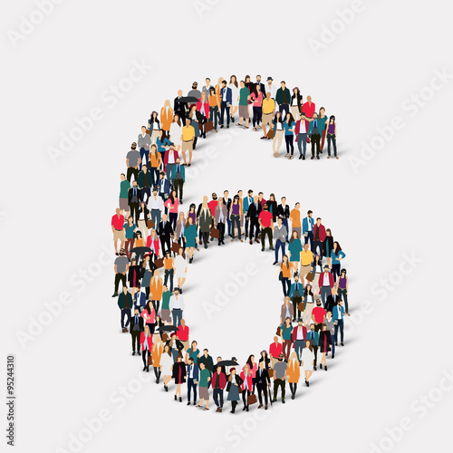 Photographie  Les gens forment le numéro six