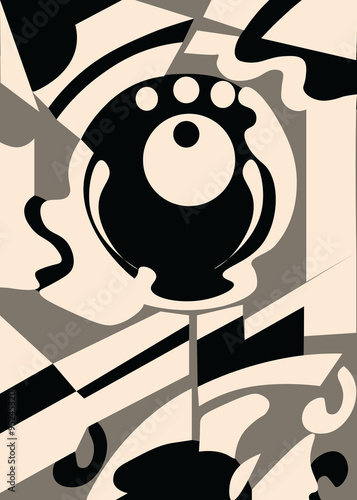 Obraz w ramie Modern Abstract Composition in beige and grey colors. Vector