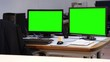 Green screen office monitors - 1080p. Complete office set with green screen monitors - Full HD