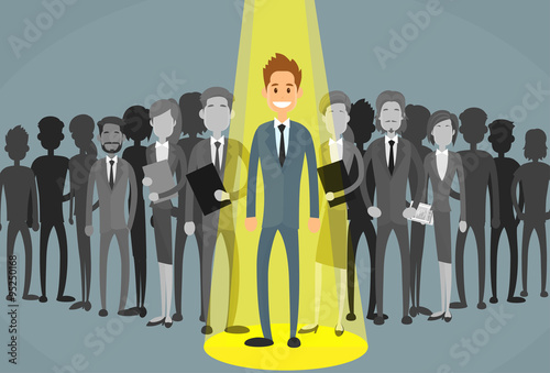 Foto op Canvas Licht, schaduw Businessman Spotlight Human Resource Recruitment Candidate