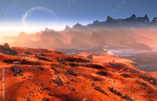 Fotobehang Baksteen Mars - martian landscape. Phobos moon above mountains
