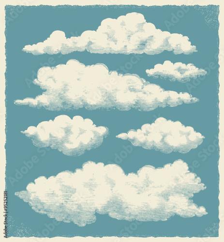 Photo Vintage cloud set. Retro sky background vector design