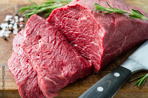 Poster Vlees Raw meat on wood background