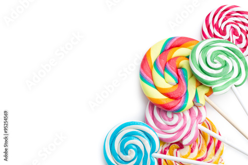 Ingelijste posters Snoepjes colorful swirl lollipop