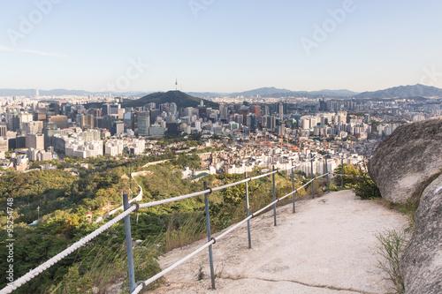 Stampa su Tela  Aerial view of Seoul, South Korea capital city