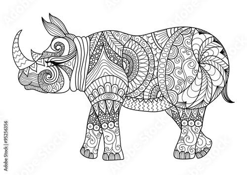 Drawing Shirt Designs | Drawing Zentangle Rhino For Coloring Page Shirt Design Effect Logo